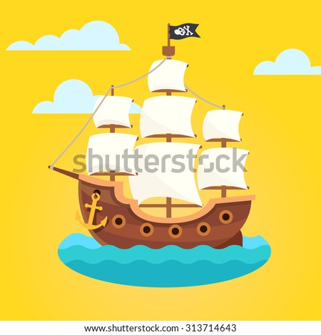 sailor icons pirate ship sea vector isolated flat cartoon illustration stock photo © pikepicture