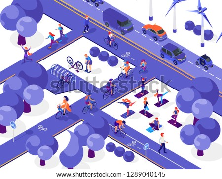 Flat Urban Concept of Public Transport. Vector Isometric Illustration. Stock photo © tashatuvango