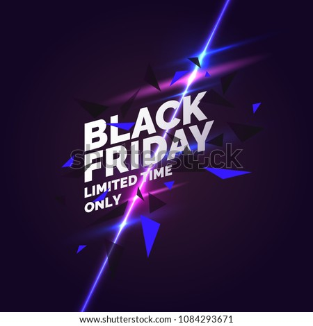 black friday sale technology background in neon style with neon glowing circle halftone ornament ab stock photo © olehsvetiukha