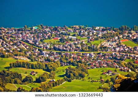 Hergiswil village and Lake Luzern aerial view from mount Pilatus Stock photo © xbrchx