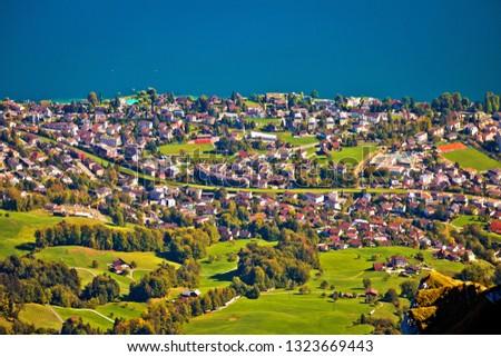 village · lac · paysage · Suisse · bâtiment - photo stock © xbrchx