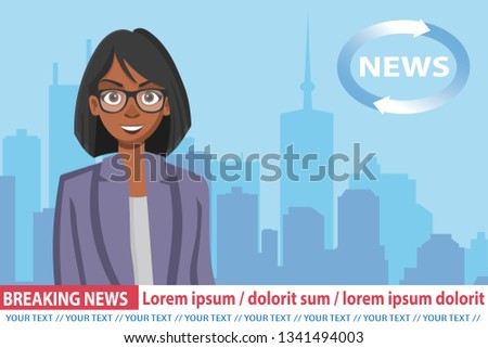 Stock photo: African American anchorwoman on tv broadcast news. Breaking News vector illustration. Media on telev