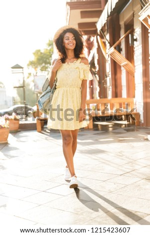 full length photo of charming american woman 20s wearing straw h stock photo © deandrobot