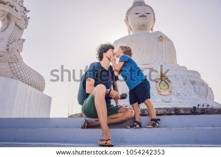 Stock fotó: Apa · fia · turisták · nagy · Buddha · szobor · magas
