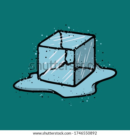 Ice Cube Isolated Transpatrent Vector. Fresh Piece. Square Bright Aqua Symbol. Realistic Illustratio Stock photo © pikepicture