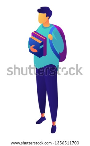 Male student with backpack holding books isometric 3D illustration. Stock photo © RAStudio
