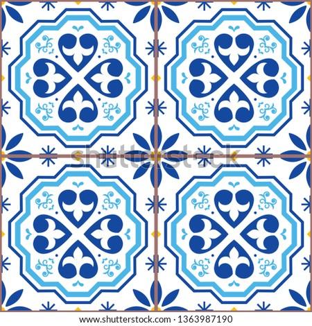 geometric azulejo vector tile seamless pattern inspired by portuguese art lisbon style tiles backgr stock photo © redkoala