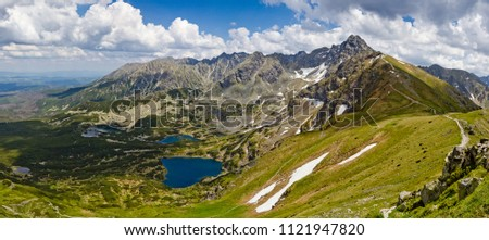 polish tatra mountains summer landscape with blue sky and white clouds stock photo © 5xinc