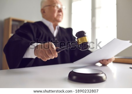 gavel and sound block of justice law and lawyer working on woode Foto stock © snowing