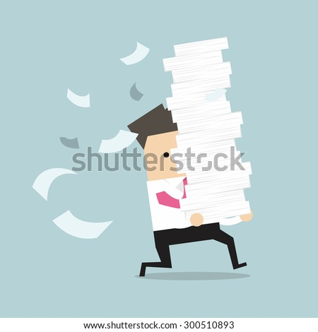 Businessman with pile of paper, business concept. Worried businessman. Deadline concept. Flat vector Stock photo © makyzz