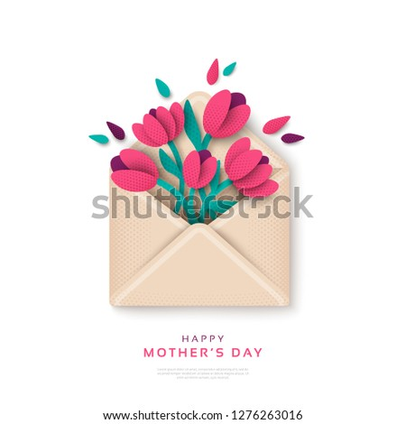 Post card with bouquet of tulips in craft envelope on an orange background. Stock photo © artjazz