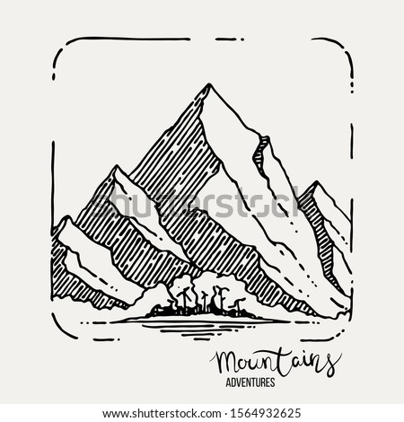 vintage hand drawn adventure logo with mountains river and quote   go outside and explore old styl stock photo © jeksongraphics
