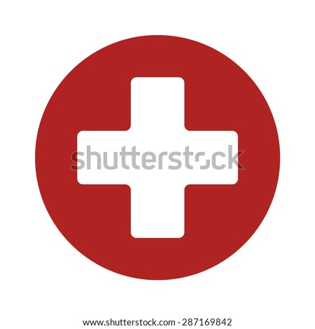 First aid medical sign in circle, flat vector icon for apps, website, labels, signs, stickers. Vecto Stock photo © kyryloff
