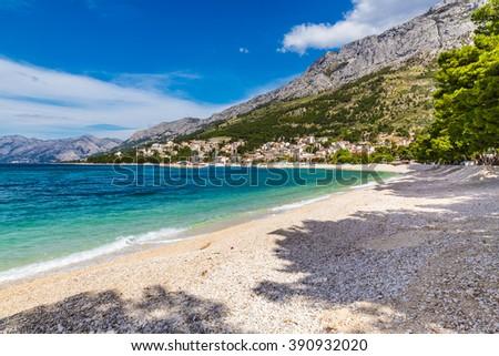 Lege zandstrand middellandse zee zee Blauw heldere hemel Stockfoto © amok