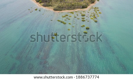 Aerial photography drone point of view turquoise bay of Mediterr Stock photo © amok