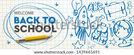 Welcome Back to school Sale horizontal banner, doodle on green checkered background, vector illustra Stock photo © ikopylov