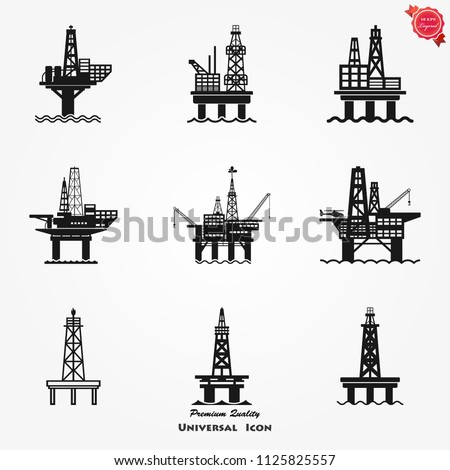 Sea oil platform icon - rig platform silhouette, gas and petrole Stock photo © Winner