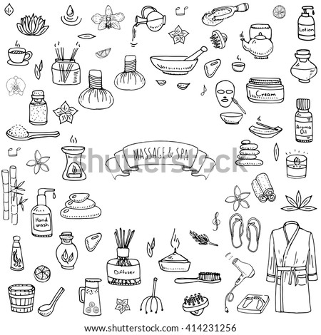 Foto stock: Massagem · vetor · ilustração · estância · termal