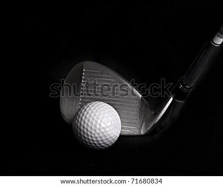 Black Golf Club Wedge Iron Hitting Golf Ball on White Background Stock photo © feverpitch