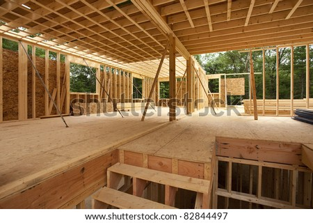 New Wood House Framing at Construction Site Stock photo © feverpitch