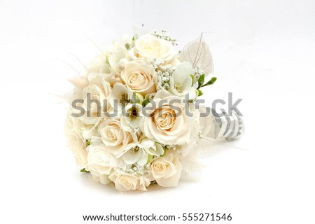 Wedding bouquet of white and pink roses and with newlywed couple Stock photo © ruslanshramko