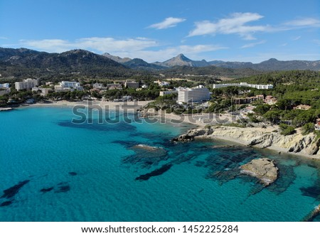 Aerial distant waterside view Peguera beach, Palma de Mallorca,  Stock photo © amok