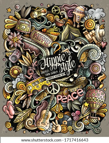 Hippie hand drawn vector doodles illustration. Hippy poster design. Stock photo © balabolka