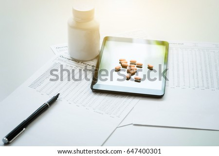 View of pad, drug and equipment on foreground table, Health care Stock photo © Freedomz