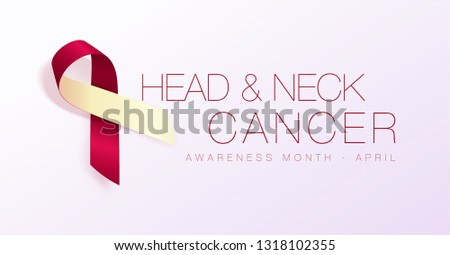 Head and Neck Cancer Awareness Month. Realistic Burgundy Ivory ribbon symbol. Medical Design. Vector Stock photo © olehsvetiukha