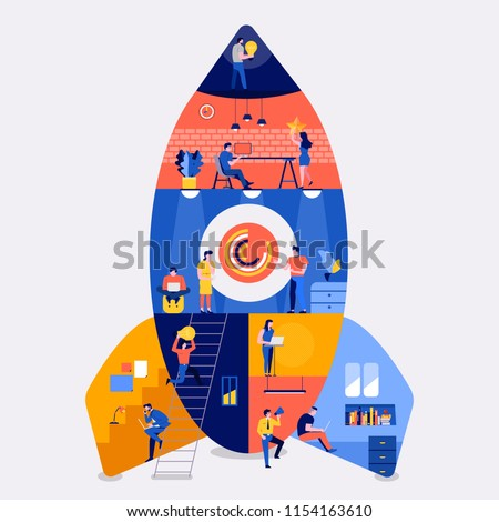Creativity website and space graphic. Doodle rocket and planets. Vector illustration for banners inv Stock photo © ikopylov