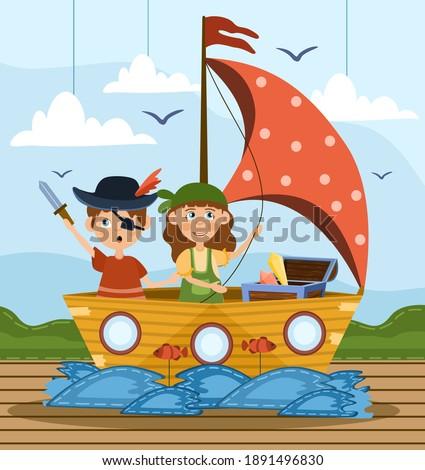 Happy young boy on the boat enjoying playing on amusement park Stock photo © galitskaya