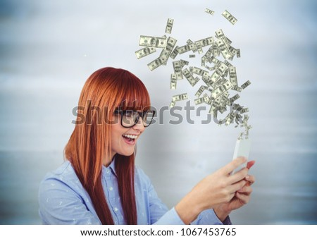texting money hipster with phone money coming up from the phone stock photo © wavebreak_media