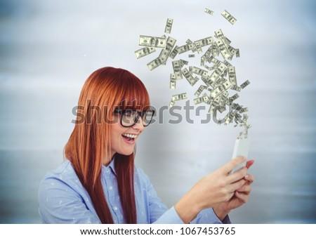 Sms chat pénz hipszter telefon felfelé digitális kompozit Stock fotó © wavebreak_media