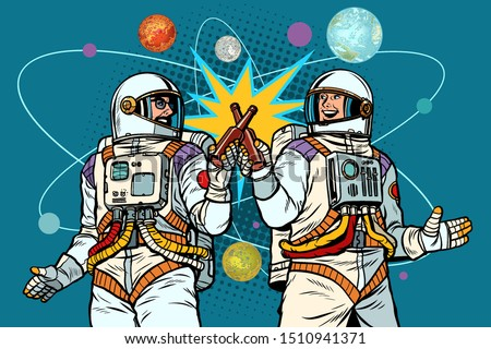 a bottle of beer cheers. two friends of the astronaut celebrate scientific achievements in space. co Stock photo © studiostoks