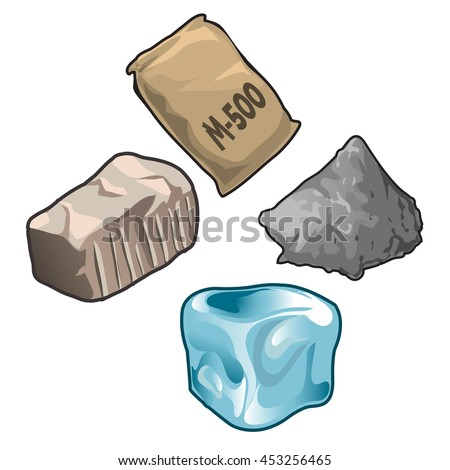 Stock photo: Stack of ice cubes isolated on white background. Vector cartoon close-up illustration.