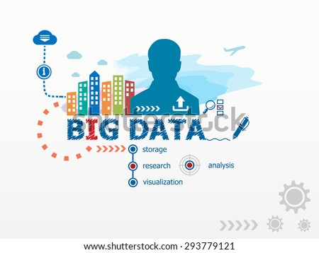 Big data business solution concept in word tag cloud with plexud dot and line connection. Vector geo Stock photo © m_pavlov