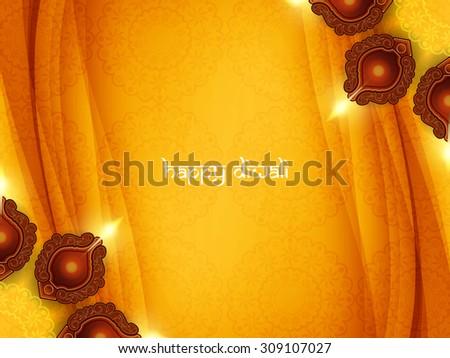 Stock photo: elegant yellow diwali festival background with diya decoration