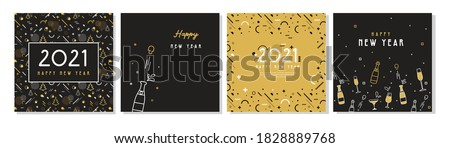 christmas greeting card vector champagne bottle seasons holiday concept hand drawn in vintage st stock photo © pikepicture