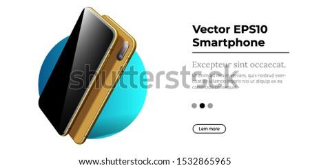 Golden Smartphone With Frameless Blank Screen In Rotated Position Foto stock © Tashatuvango