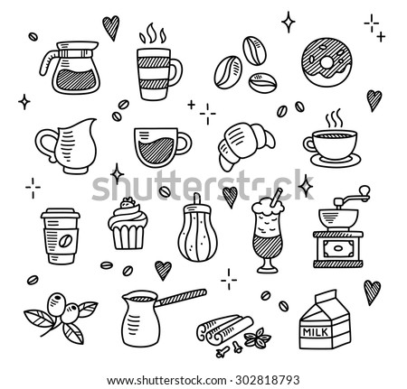 Doodle beverage element mug, tea set and cupcakes, milk, raspber Stock photo © Margolana