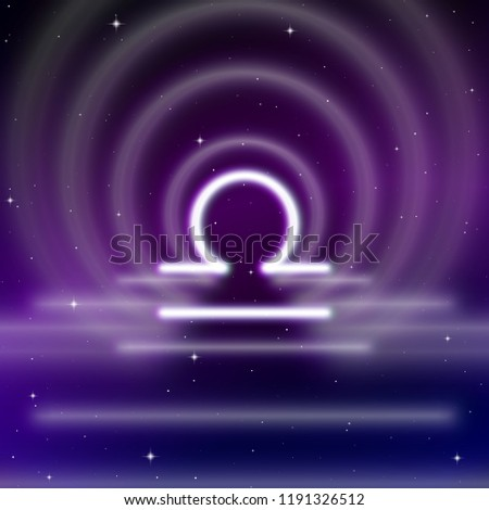 astrology sign of libra or scales with mystic aura in universe stock photo © swillskill