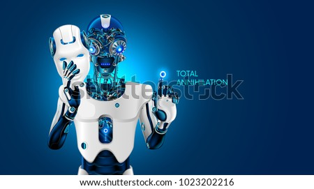 futuristic technology destroying artificial intelligence face ba stock photo © sarts