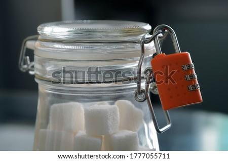 Vetro jar naturale bianco zollette di zucchero Foto d'archivio © DenisMArt