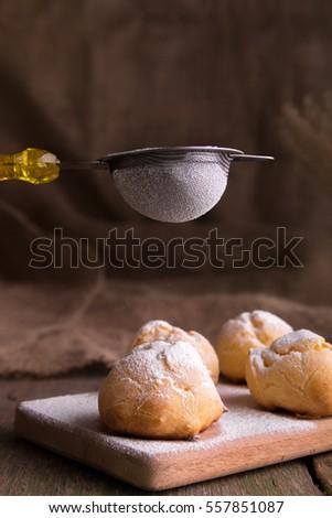 Processo açúcar de confeiteiro rústico estilo madeira cozinhar Foto stock © Illia