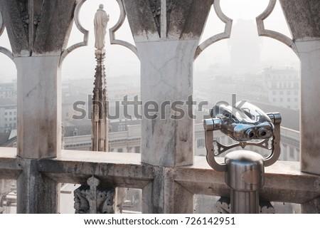 Mozdulatlan látcső katedrális Milánó számla megfigyelés Stock fotó © ShustrikS