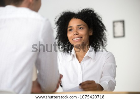 Interview baan aantrekkelijk kandidaat pak antwoorden Stockfoto © snowing