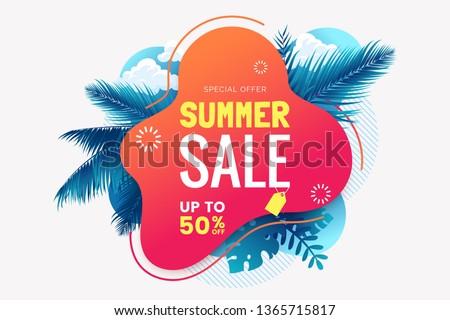 Zomer verkoop ontwerp tropische palmbladeren Blauw Stockfoto © articular