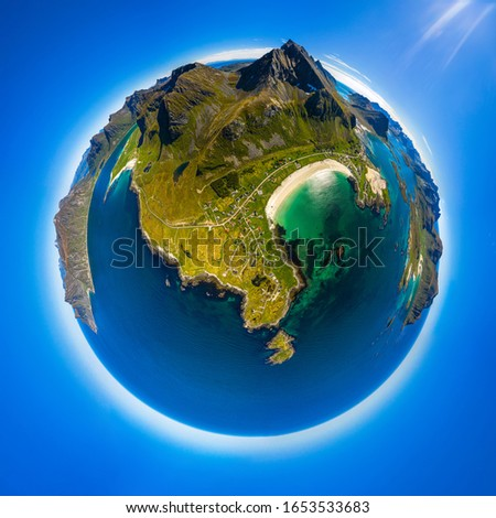 Mini planeta archipiélago Noruega puentes panorama Foto stock © cookelma