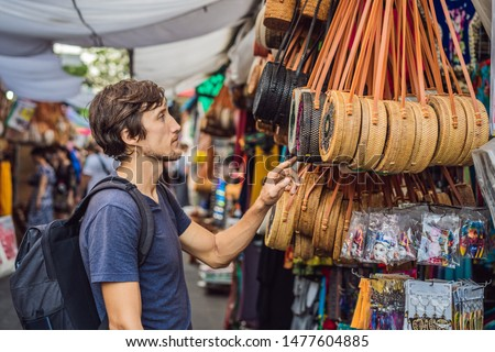 Uomo mercato bali tipico souvenir shop Foto d'archivio © galitskaya
