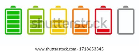 Set of battery charge level indicators. Stock Vector illustration isolated on blue background. Stock photo © kyryloff